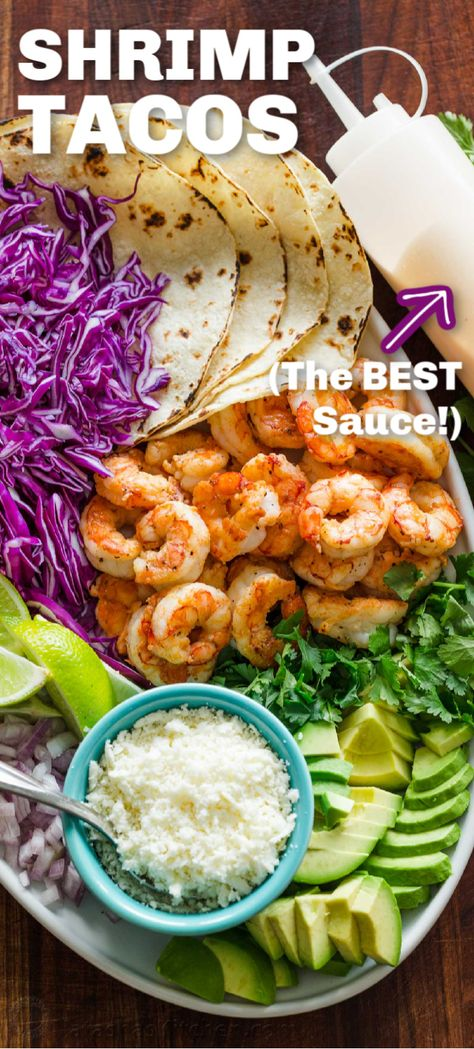 Shrimp Tacos are an easy dinner idea and you will fall in love with the Shrimp taco sauce - it's a simple garlic lime crema that is mouthwatering good! Shrimp Taco Sauce, Grilled Shrimp Recipes, Shrimp Recipes For Dinner, Fish Recipes, Seafood Recipes, Mexican Food Recipes, Cooking Recipes, Healthy Recipes, Simple Shrimp Taco Recipe