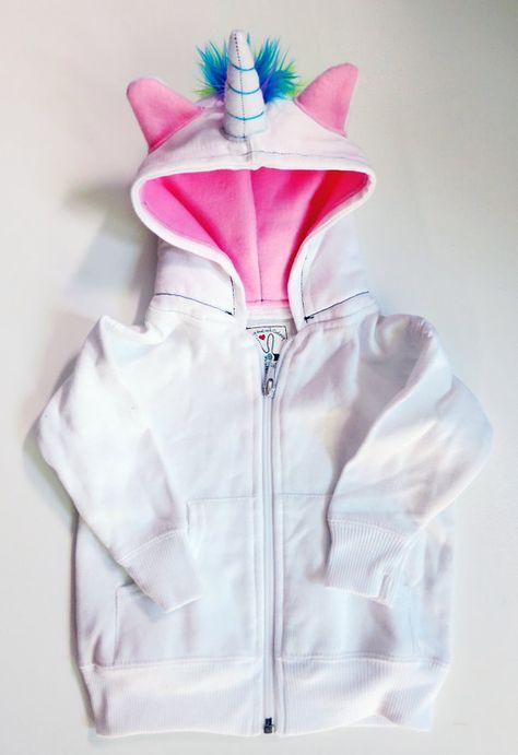 Baby Unicorn Hoodie - Size 18 month - White with pink - horned sweatshirt, rainbow mane, custom jacket, great gift for kids