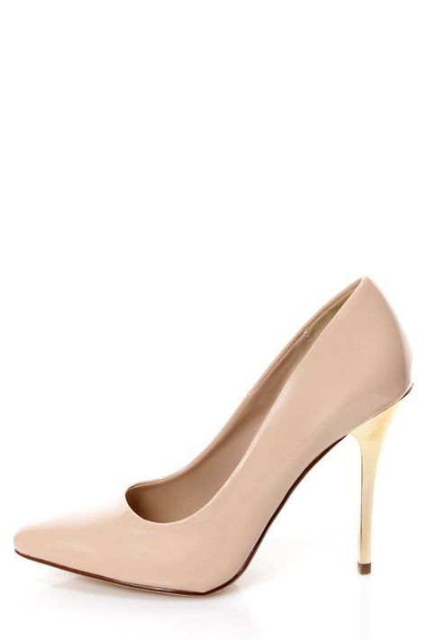 Meet your new favorite nude pump: My Delicious Birdy Nude Patent and Gold Pointed Pumps
