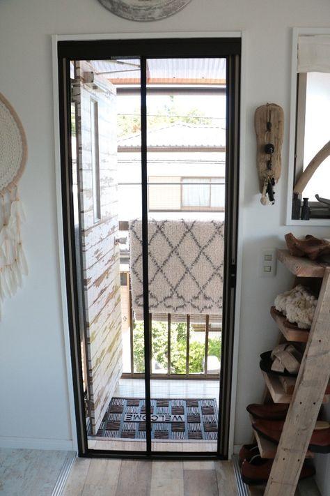 玄関にロータリー網戸をつけてみました 玄関 網戸 Diy インテリア