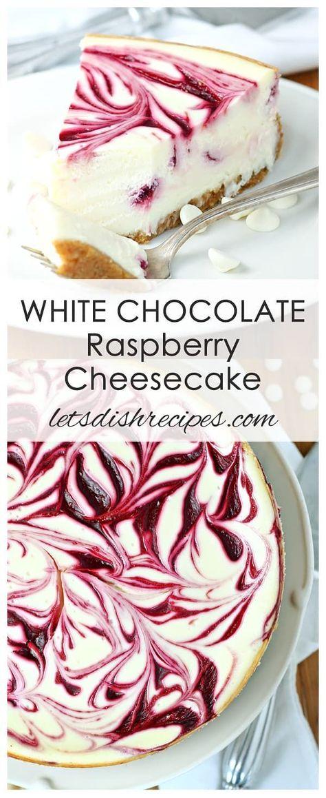 White Chocolate Raspberry Swirl Cheesecake | Let's Dish Recipes
