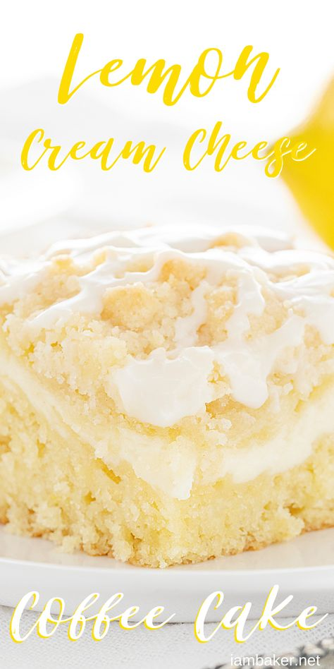 This Lemon Cream Cheese Coffee Cake is completely from-scatch and loaded with pure lemon flavor! The best way to start the day! #lemoncoffeecake #lemoncreamcheesecake #coffeecake #breakfastcake #lemonbreakfastcake #bakedlemoncake #baking #recipes #breakfast #iambaker