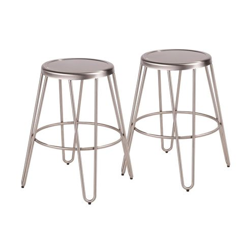 Lumisource Avery 24 In Brushed Stainless Steel Counter Stool Set
