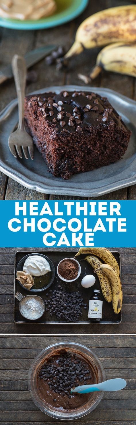 This healthier chocolate cake tastes like a double chocolate chip banana muffin! No sugar, butter or oil but uses bananas, greek yogurt and honey instead!