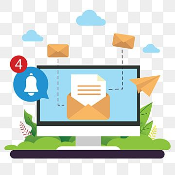 Concept Vector Illustration Of Sending Email With Computer Letter Chat Open Png And Vector With Transparent Background For Free Download Banner Design Vector Illustration Illustration