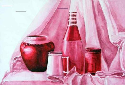 Monochromatic Still Life Painting: Step by step project details for high school ...  #details #monochromatic #painting #project #school #still<br>