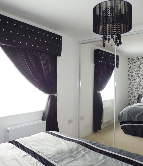 Pelmet and Curtains Light grey faux silk with clear stones - vorhänge für schlafzimmer