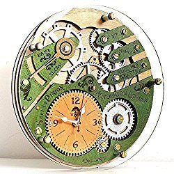 Skeleton 1832 transparent glass back unique vintage wooden wall clock