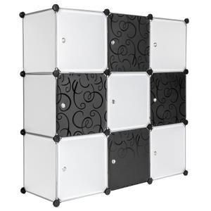 Tectake Armoire De Rangement Systeme Click Modulable En Plastique 112 Cm X 37 Cm X 112 Cm Blanc Noir Armoire Plastique Etagere Plastique Armoire Rangement