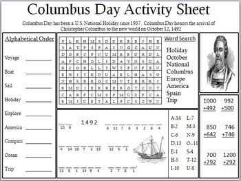 Columbus Day Activity Sheet Writing Prompts For Kids Holiday Worksheets Columbus Day