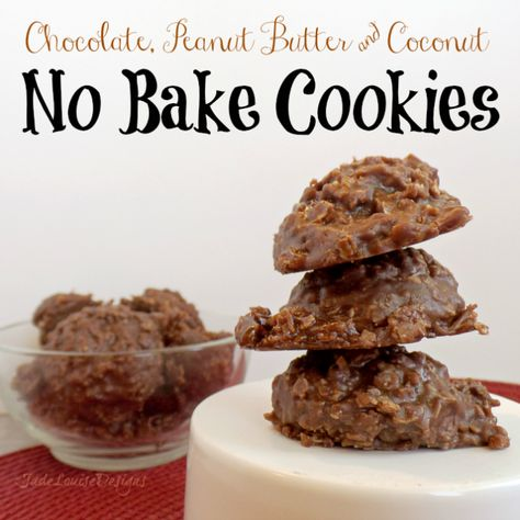 Easy No Bake Cookies, Chocolate peanut butter and coconut blended into perfect goodness all made from shelf stable foods you'd find in your food storage!