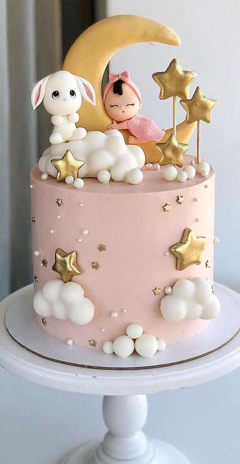1st Birthday Cake For Girls, Creative Birthday Cakes, Beautiful Birthday Cakes, Baby Birthday Cakes, Birthday Cake Designs, 1st Bday Cake, Elegant Birthday Cakes, 17th Birthday, Birthday Design