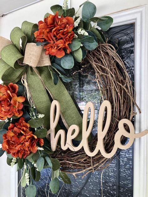 Fall Farmhouse Wreath- Fall Wreath- Wreath For Fall- Autumn Wreath- Autumn - Door Decor- Front Door Wreath- Eucalyptus Wreath- Hello Wreath Fall Mesh Wreaths, Autumn Wreaths For Front Door, Diy Fall Wreath, Summer Wreath, Fall Wreath Tutorial, Winter Wreaths, Floral Wreaths, Burlap Wreaths, Spring Wreaths