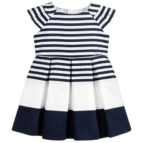 6da9e2b24257 Girls navy blue and white striped dress by Mayoral. Made in soft cotton  fabric