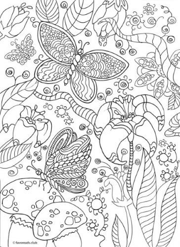 The World of Butterflies - Magic Forest - Printable Adult Coloring Pages from Favoreads