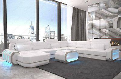 Leather Sectional Sofa Xl Roma Big Cornersofa Design Couch Led Lighting Usb Ebay Con Imagenes Interiores Diseno De Interiores Interiores Design