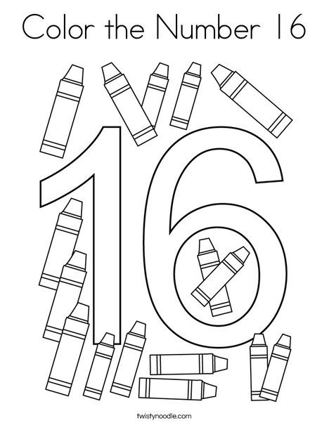 Color The Number 16 Coloring Page Twisty Noodle Numbers Preschool Number 16 Preschool Number Worksheets