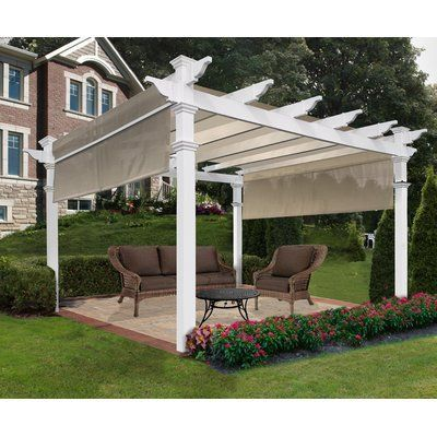 New England Arbors Monterey 12 Ft W X 12 Ft D Vinyl Pergola With Canopy Wayfair In 2020 Outdoor Pergola Vinyl Pergola Pergola