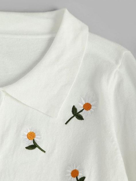 Button Up Daisy Embroidered Cardigan
