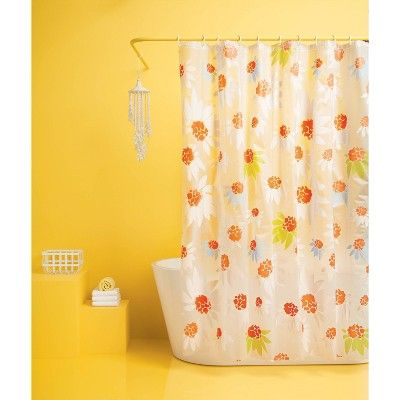 Floral Shower Curtain Bundle Orange Room Essentials Floral