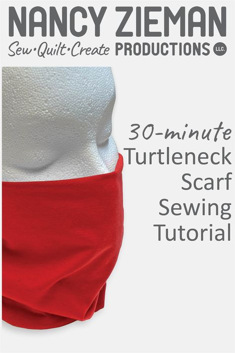 Sew a Turtleneck Scarf for chilly spring days, and have built-in convenience for pulling scarf up over nose and mouth – during brisk morning walks wi Sewing Patterns Free, Free Sewing, Hand Sewing, Nancy Zieman, Sewing Hacks, Sewing Tutorials, Sewing Projects, Sewing Blogs, Tapas