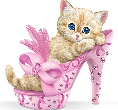 How sweet this little kitten looks nestled inside shoe!  Adorable figurine supports Breast Cancer Awareness.