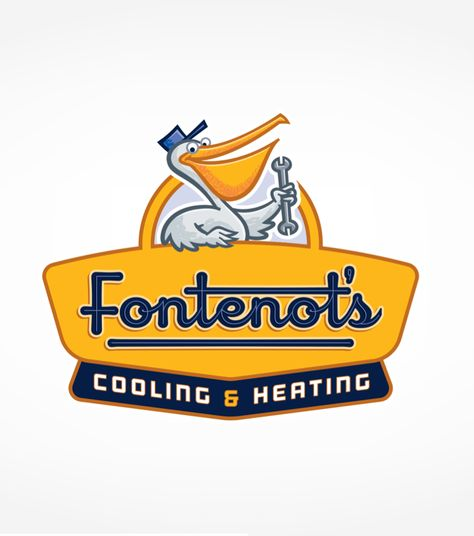 Fontenot S Air Conditioning Heating Mascot Logo Design For