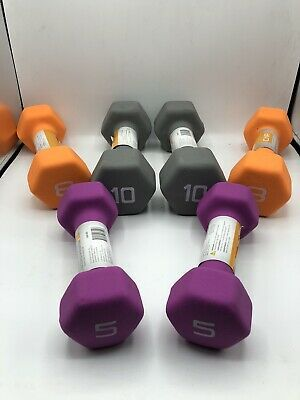 10 Pounds Total New Dumbbell Weights 5 lb 5LB CAP Hex Neoprene Set of Two