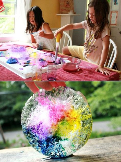This melting ice experiment is gorgeous and colorful. // 24 Kids' Science Experiments That Adults Can Enjoy, Too