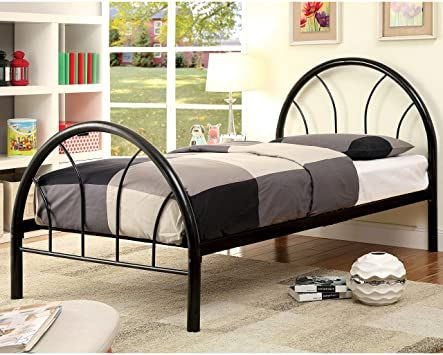 Furniture Of America Linden Double Arch Metal Full Bed Black Black Finish Metal Finish Black Bedding Furniture Of America Full Bed