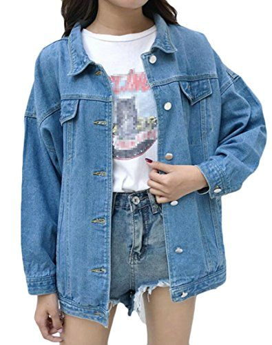 Joe Wenko Womens Pocket Boyfriend Button Distressed Lapel Neck Basic Denim Jackets