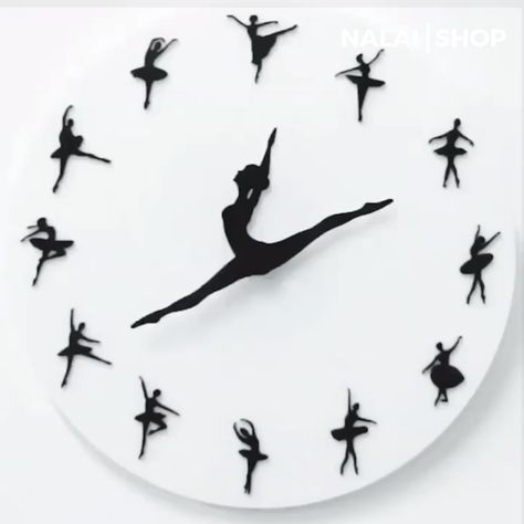 This premium Ballet Clock always has time for dancing. The ballerina's legs represent the clock's hands and gracefully point to the time. It is made of durable high-quality acrylic material. The clock has no sound at its movement that you will hear no ticking sound. Get it today!