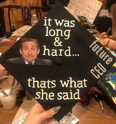 that's what she said graduation cap idea Funny Graduation Caps, Graduation Cap Designs, Graduation Cap Decoration, Graduation Diy, Graduation Invitations, Graduation Quotes, Funny Grad Cap Ideas, Graduation Picture Poses, Cap Decorations