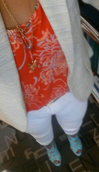 CAbi Mum Cami, Lemon Zest jacket and white Indie jeans