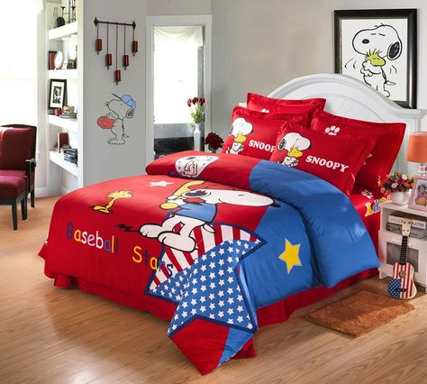 Baseball Starts Red Snoopy Queen Size Bedding Sets I LOVE SNOOPY