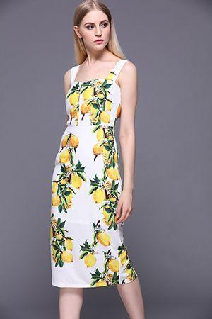 c8f174692bab New Summer Dress Women s Spaghetti Strap White Casual Lemon Print Slim  Sheath Dress - Multi