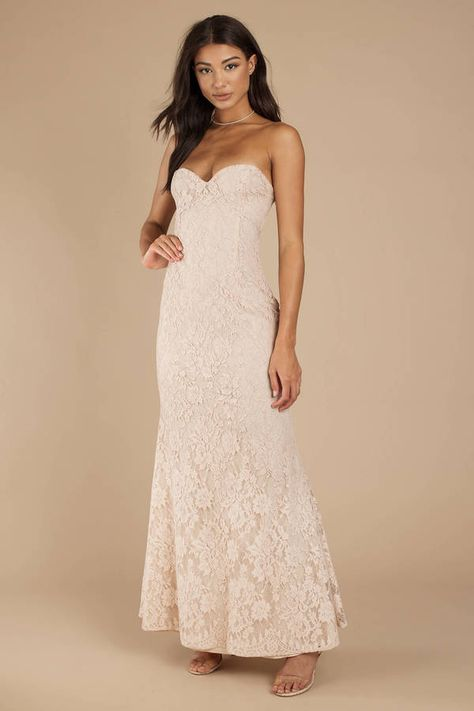 51a1350c9692 The Adelyn Strapless Champagne Maxi Dress is a long formal dress that is  all types of magic