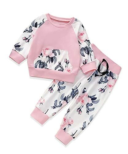 Floral Headband 3pcs Outfit Floral Long Pant Newborn Baby Girls Clothes Floral Romper