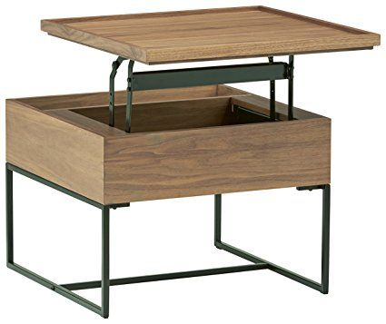 Amazon Com Rivet Axel Lift Up Wood And Metal Side Table Walnut