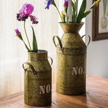 Flower Pot Vintage Metal Milk Can Style Number Flower Pots Handmade Flower Pots Milk Cans