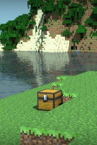 Download Minecraft Treasure Chest Near A Lake Wallpaper Minecraft Cottage Minecraft Minecraft Wallpaper