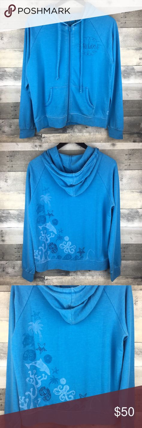 """Disney Aulani Resort & Spa M Zip-Up Hoodie Sweater Disney Aulani Resort & Spa Womens Size M Zip-Up Hoodie Sweater Blue Sea Theme  Aulani, A Disney Resort and Spa. Lightweight sweater. Condition: New without tags, no signs of wear. Tag Size: M Measurements: Armpit to armpit: 20"""" Length: 23.5""""  Please follow me for more great items and sweet deals! Thank you for shopping! Disney Sweaters"""