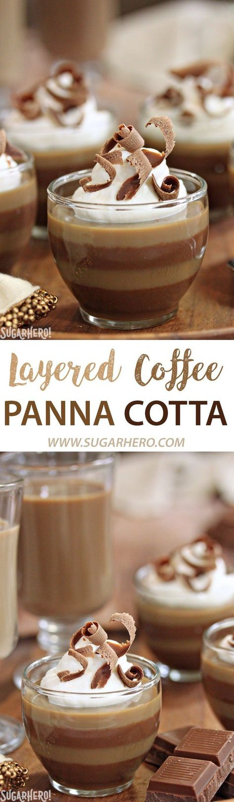 Layered Coffee Panna Cotta - an easy coffee dessert with gorgeous layers of vanilla and mocha flavors! Made with @InDelight iced coffee | From SugarHero.com    #ad