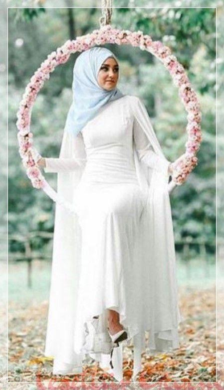 Beyaz Sade Tesettur Nikah Elbisesi 2020 Islami Giyim Moda Stilleri Kiyafet