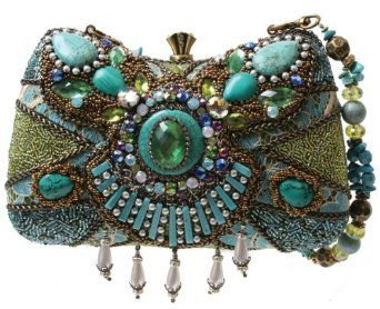 Mary Frances Byzantine Empire Blue & Green Convertible Clutch Handbag