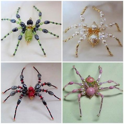 DIY Beaded Spider Tutorial. I saw these gorgeous spiders by Kathy Shaw, but didn't post them because there wasn't a tutorial. But now there is and you can make the one on the bottom right at Shawkl here. Other examples of these spiders can be found here.