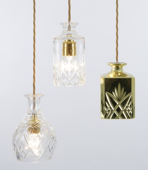 Love this idea ~ old lead crystal decanters as light fixtures.