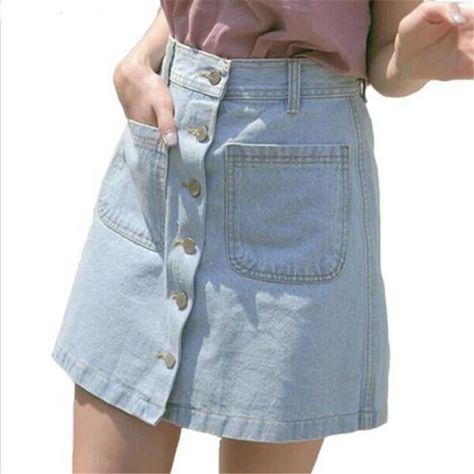 2016 New High Waisted Women Denim Skirt Female Breasted Summer Skirt A-line Button Above Knee Mini Casual Bag Hip Skirt Empire