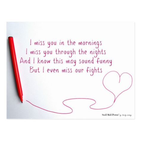 Funny Miss You Poem about Love and Fights Postcard #Ad , #ad, #Love#Fights#Postcard#Shop