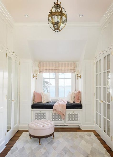 White And Pink Closet With Pink Ceiling   Transitional   Closet | Pink  Closet, Pink Velvet Pillow And Wardrobe Cabinets
